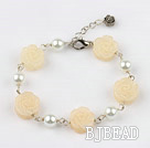 white pearl and yellow jade flower bracelet with extendable chain