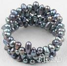 Black Freshwater Pearl Wrap Bangle Bracelet