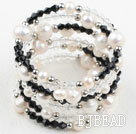 White Freshwater Pearl and Black Crystal Wrap Bangle