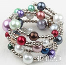 Assorted Multi Color Acrylic Pearl Wrap Bangle Bracelet under $ 40