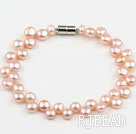 6-7mm Natural Pink Freshwater Mabe Pearl Bridal Bracelet with Magnetic Clasp