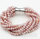 Multi Strands 3-4mm Natural Purple Freshwater Pearl Bracelet with Big Magnetic Clasp under $ 40