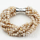 Multi Strands 3-4mm Champagne Freshwater Pearl Bracelet with Big Magnetic Clasp