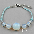 Simple Design Opal Bracelet with Blue Thread and Lobster Clasp