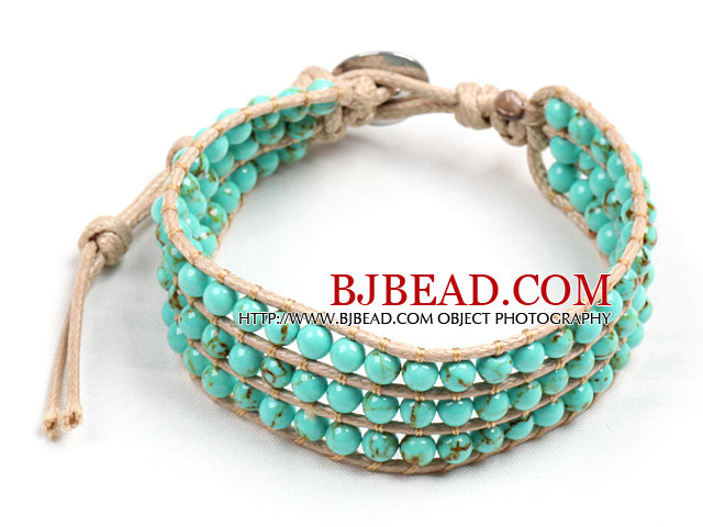 Popular Style Three Layer Turquoise Beads Wrap Bangle Bracelet