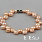 7-8mm Natural Dark Pink Freshwater Mabe Pearl Bridal Bracelet with Magnetic Clasp