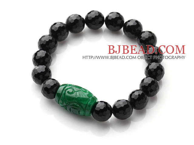 Single Strand A Grade Faceted Black Agate And Green Jade Elastic Bracelet