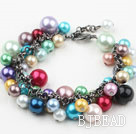 Assorted Multi Color Shell Beads Bracelet with Metal Chain