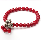 6mm Round Red Coral Elastic Bangle Bracelet with Metal Rose Accessories