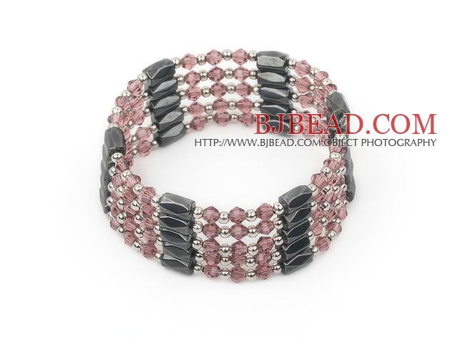 multi strand purple crystal magnetic bracelet