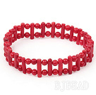 7.2 inches 4mm red coral elastic bangle