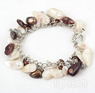 8-10mm pearl bracelet with metal chain and toggle clasp