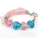 lovely crystal heart colored glaze bracelet with toggle clasp