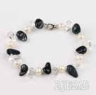 pearl and white crystal bracelet with lobster clasp