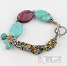 blue turquoise purple crystal bracelet with toggle clasp