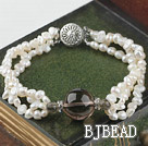 3 strand natural white pearl and smoky quartze bracelet
