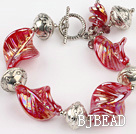 crystal colored galze and tibet silver bracelet with toggle clasp under $ 40