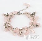 7.5 inshes rose quartze tibet silver charm bracelet with extendable chain under $ 40