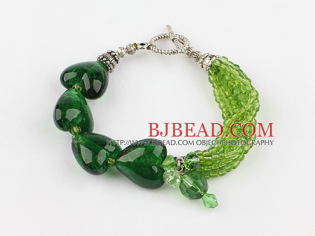 green crystal heart colored glaze bracelet with toggle clasp
