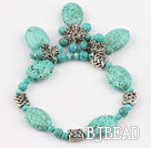 beautiful turquoise elastic bracelet with turquoise pendant under $ 40