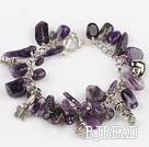 natual 8-14mm amethyst bracelet with toggle clasp