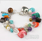 multi color stone and crystal bracelet with toggle clasp