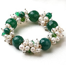 Assorted White Freshwater Pearl and Big Green Agate Stretch Bracelet
