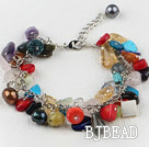 dyed multi color pear shell and stone chips bracelet with extendable chain