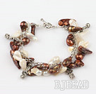 irregular shape pearl bracelet with toggle clasp