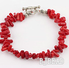 red coral chips bracelet with lobster clasp