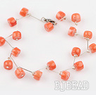 orange coral beaded bracelet with lobster clasp
