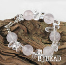 beautiful white pearl and rose quartz bracelet with toggle clasp under $ 40