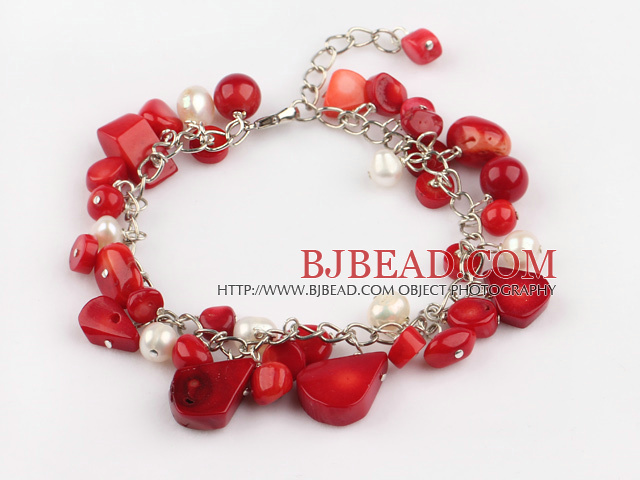 white pearl and red coral bracelet with extendable chain