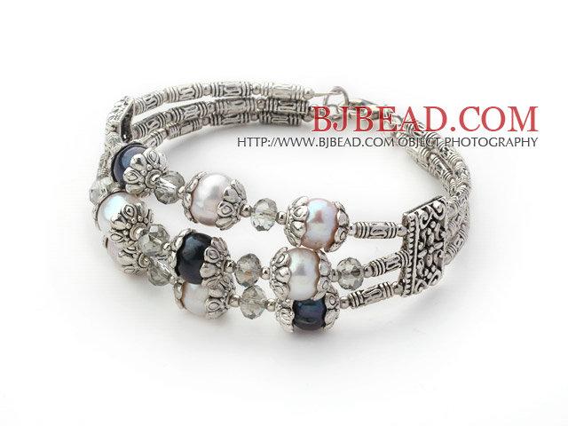 9-10mm white pearl and black pearl bangle