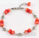 red anc orange coral bracelet with extendable chain under $4
