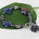 Sodalite stone plum blossom bracelet with toggle clasp