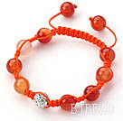 Orange Series 10mm Round Natural Color Agate and White Rhinestone Beads Adjustable Drawstring Bracelet