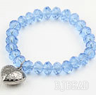 Simple Design Sky Blue Crystal Elastic Bangle Bracelet