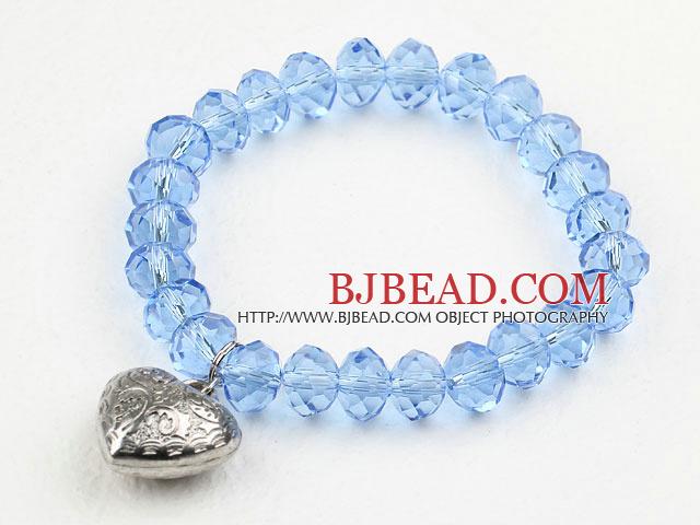Simple Design Sky Blue Crystal Elastic Bangle Bracelet