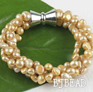 multi strand champagne color pearl bracelet with magnetic clasp