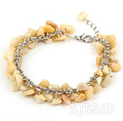 6-8mm yellow jade chips bracelet with extendable chain