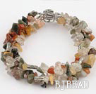 6-8mm three strand multi color rutilated quartz bracelet