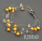 yellow pearl crystal braclet with lobster clasp