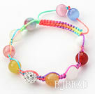 10mm Multi Color Stone and White Rhinestone Beads Adjustable Drawstring Bracelet