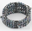 4-5mm black pearl magnetic multi strand bracelet