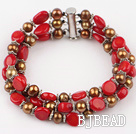 three strand pearl and coral braclet with slide clasp under $ 40
