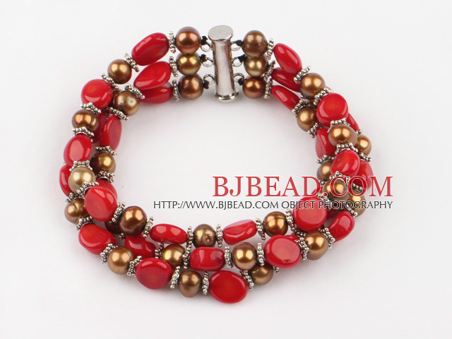 three strand pearl and coral braclet with slide clasp