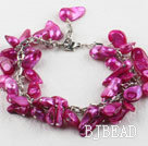 irregular shape dyed purple red pearl bracelet with extendable chain
