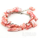 irregular shape dyed red pearl bracelet with extendable chain under $7