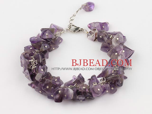 6mm natural amethyst bracelet with extendable chain